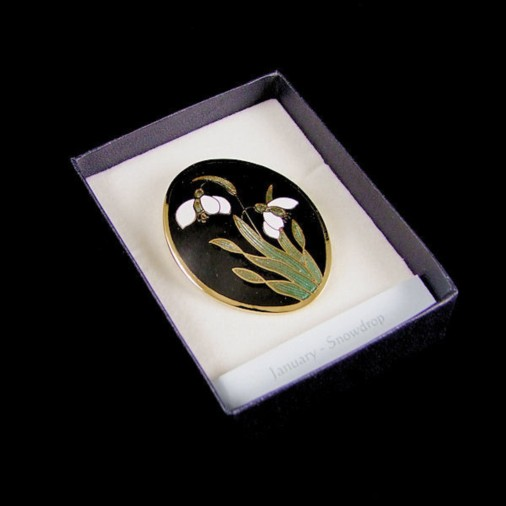 January Snowdrop Brooch Black