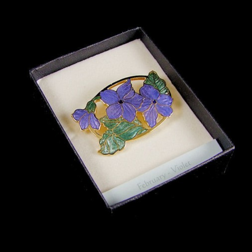 February Violets Enamel Brooch Purple
