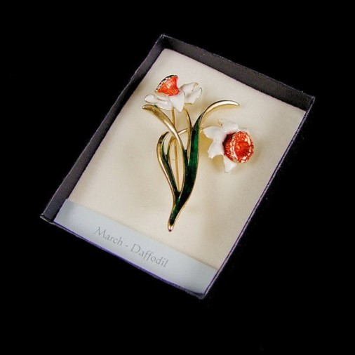 March Daffodil Enamel Brooch White