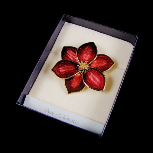 May Clematis Enamel Brooch Red