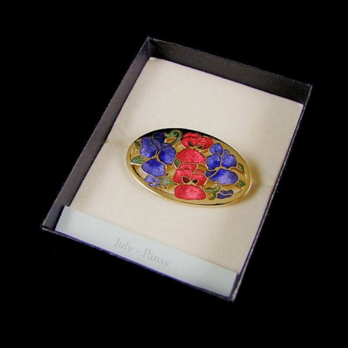 July Pansy Enamel Brooch Blue