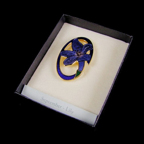 September Lily Enamel Brooch Blue
