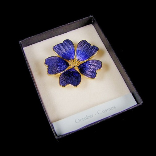 October Cosmos Enamel Brooch Blue