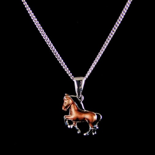 Sterling Silver Horse Necklace Brown