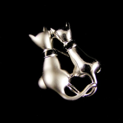 Sterling Silver Cats Brooch