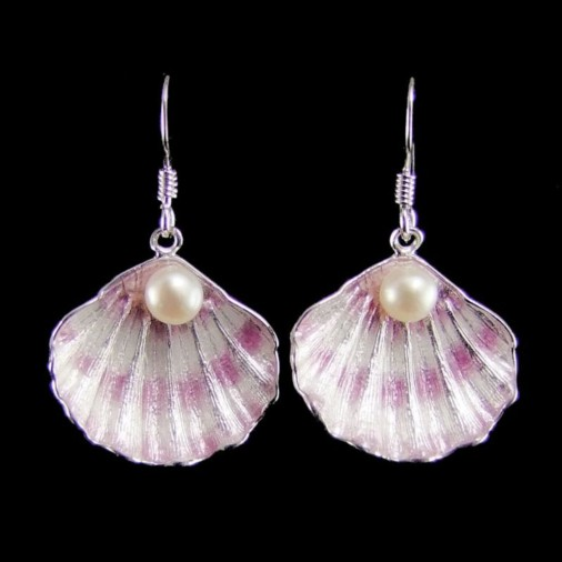 Sterling Silver Shell Earrings with Pearl Lavender