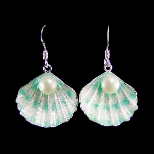 Sterling Silver Shell Earrings with Pearl Green
