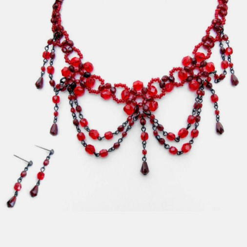 Glass beaded intricate choker set (ruby)