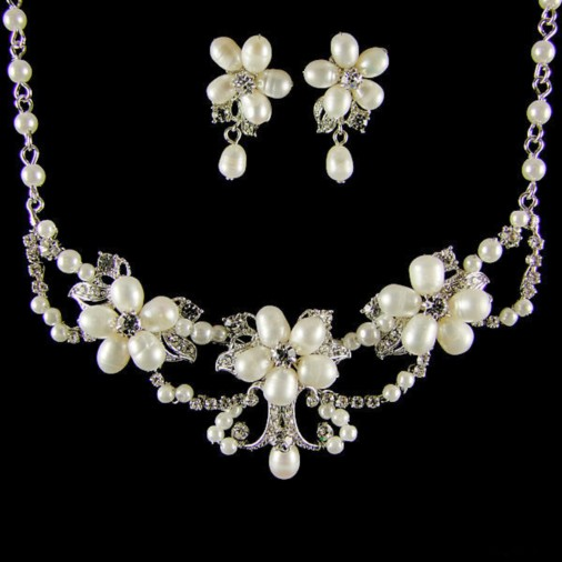 Brigitte Pearl & Crystal Bridal Necklace Set (Silver)