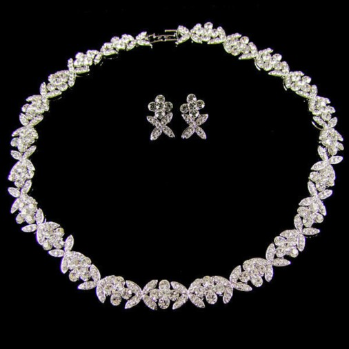 Seraphina Swarovski Crystal Wedding Necklace Set (Silver)