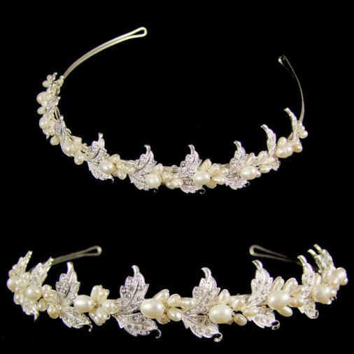 Athena Crystal & Pearl Leaf Design Wedding Tiara (Silver)