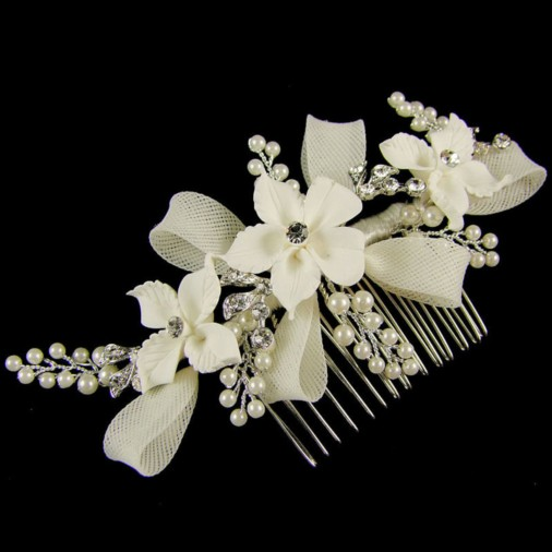 Erica Flower Crystal & Pearl Hair Comb 13cm (Silver)