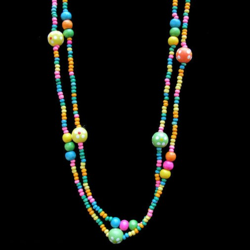 Childrens Multicolour Rainbow Wood Bead Necklace