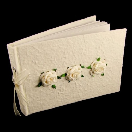Wedding Guest Book 3 Cream Roses