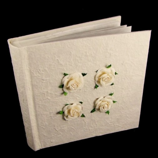 Slip in Wedding Photo Album (6x4) 4 Cream Roses