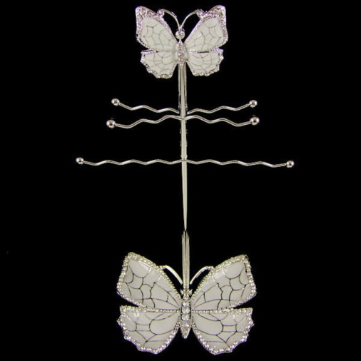 Butterfly Jewellery Stand with Tray Silver 28cm