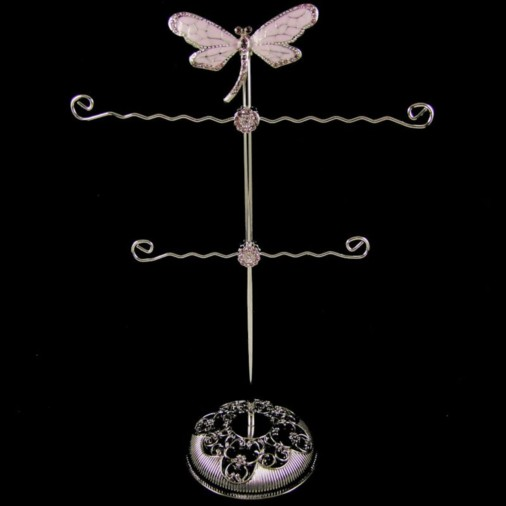Dragonfly Metal Jewellery Stand Lilac 30cm