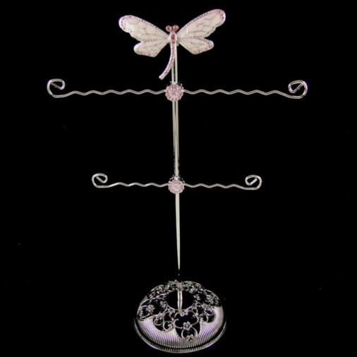 Dragonfly Metal Jewellery Stand Pink 30cm