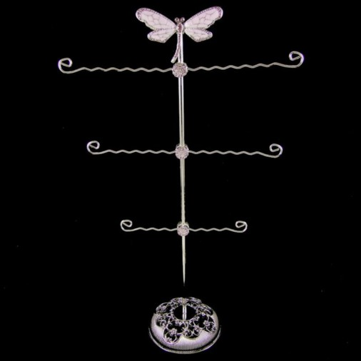 Dragonfly Metal Jewellery Stand Lilac 40cm