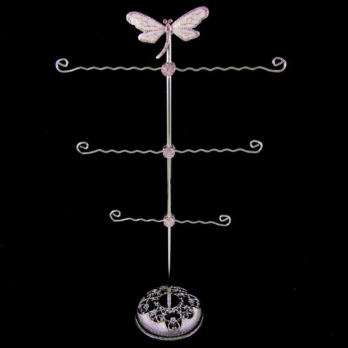 Dragonfly Metal Jewellery Stand Pink 40cm