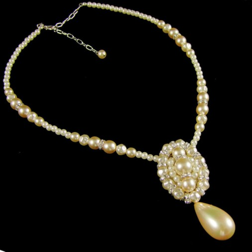 Electra Vintage Pearl Wedding Necklace