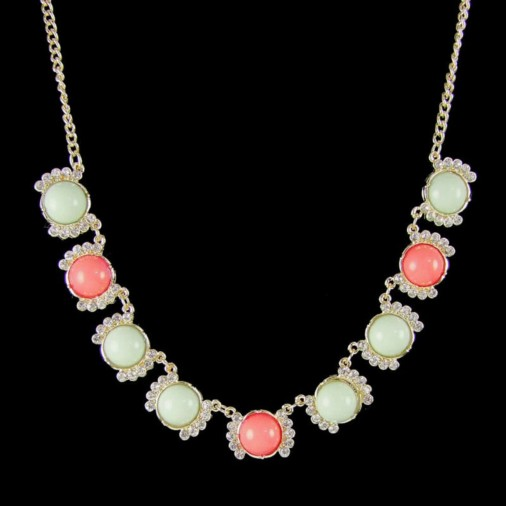 Ella Coloured Fashion Necklace Mint/Peach/Gold