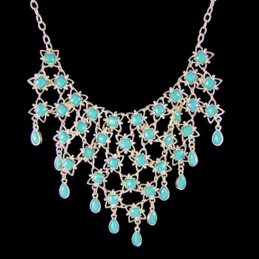 Mia Exquisite Mesh Necklace Turquoise/Gold