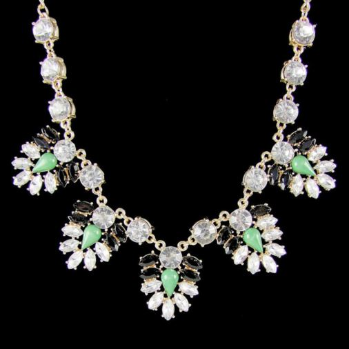Ashley Sparkling Fashion Necklace Green/Black/Gold