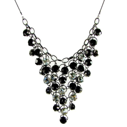 Pixie V Shape Chunky Fashion Necklace Black/Clear