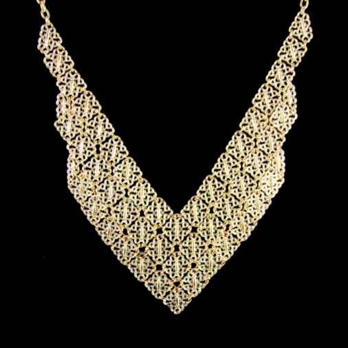 Frankie Elaborate Mesh Fashion Necklace Gold