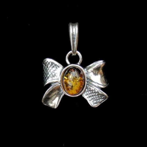 Sterling Silver Amber Bow Pendant
