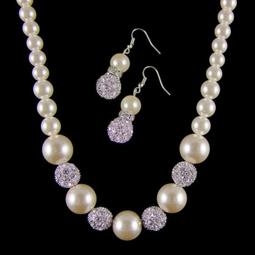 Pearl & Diamante Necklace & Earrings Set