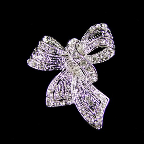Sparkling  Bow Brooch (silver)
