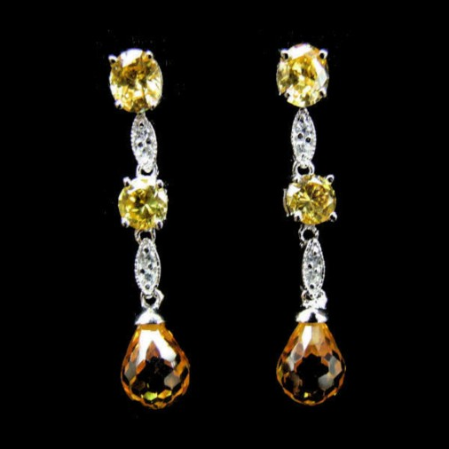 Yellow Dangling CZ Earrings