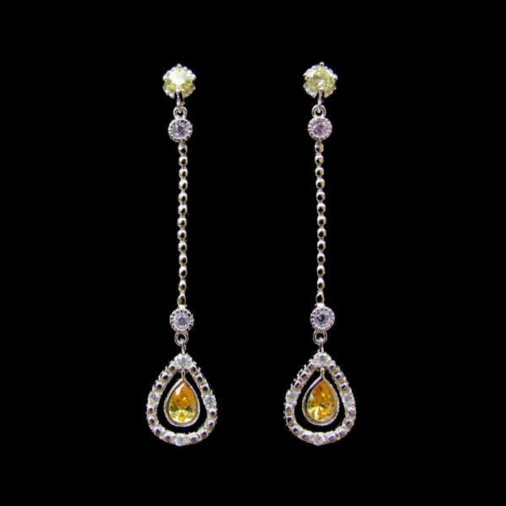 Yellow Dangling CZ Teardrop Earrings