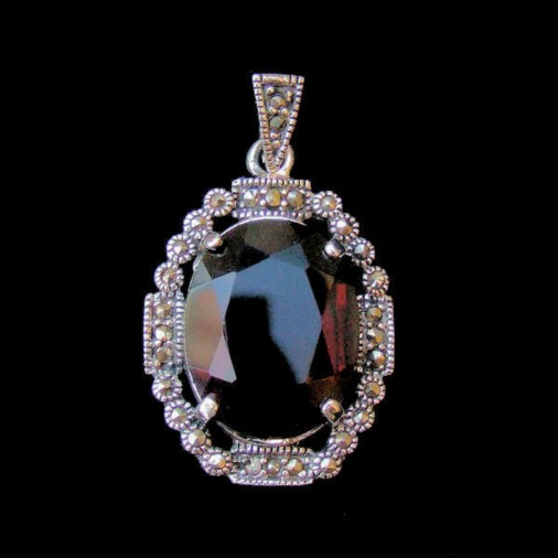 Sterling Silver Marcasite Oval Pendant
