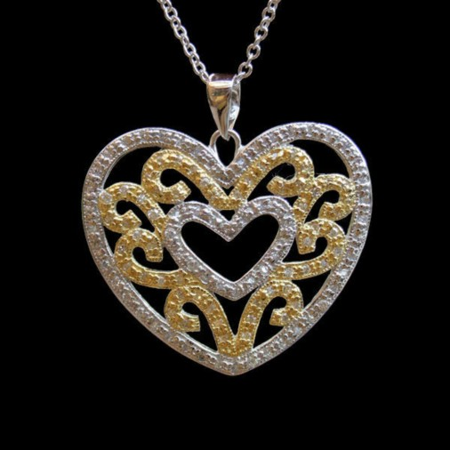 Sterling Silver 2 Tone Cutout Heart Necklace