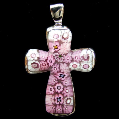 Millefiori Large Cross Pendant in Pink