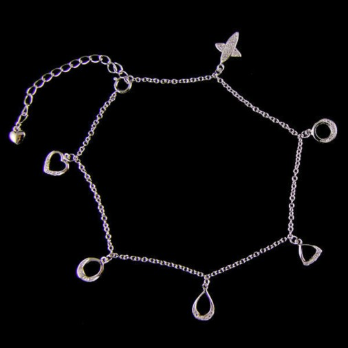 Sterling Silver Dangling 6 Cz Charm Anklet