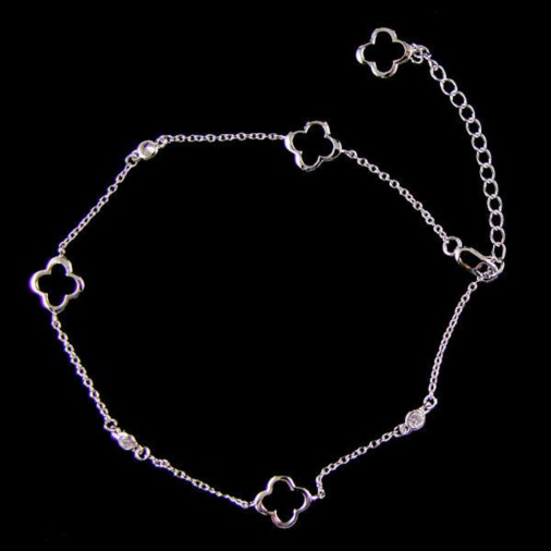 Sterling Silver High Polish Flower Anklet