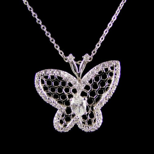 Sterling Silver Butterfly Cz Necklace