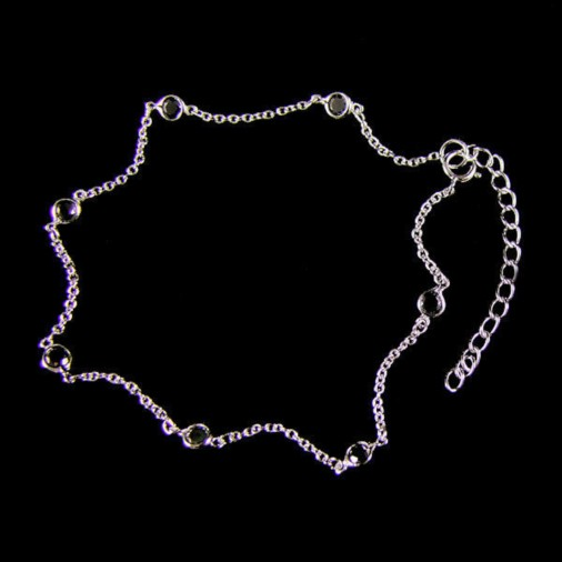 4mm Bezel Black CZ Anklet