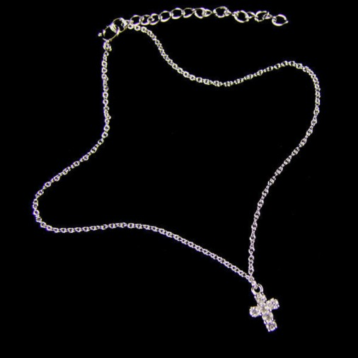 Hanging Cross CZ Anklet