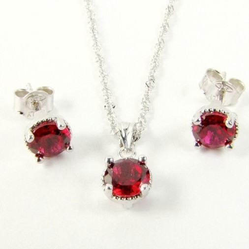 Sterling Silver CZ Garnet Red Necklace Set January