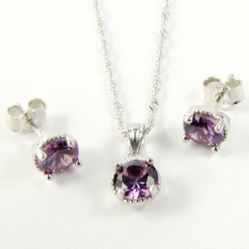 Sterling Silver CZ Amethyst Purple Necklace Set February