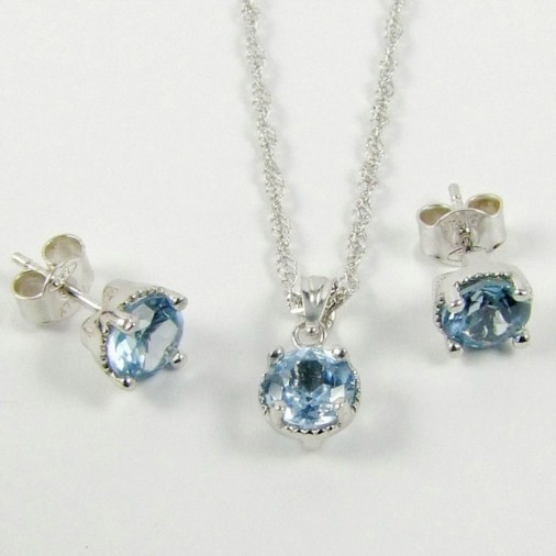 Sterling Silver CZ Aquamarine Blue Necklace Set March