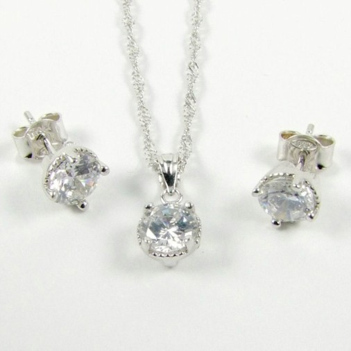Sterling Silver CZ Clear Necklace Set April