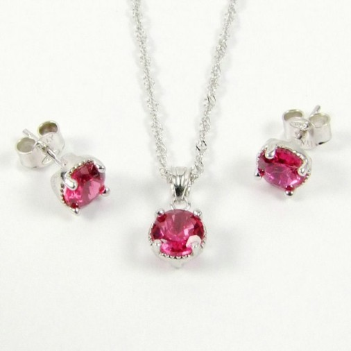 Sterling Silver CZ Fuchsia Red Necklace Set July