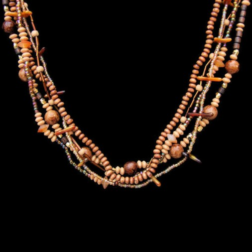 Wood & seed bead multi strand choker (Brown)