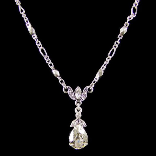Trieste Crystal Pear Necklace (Silver)